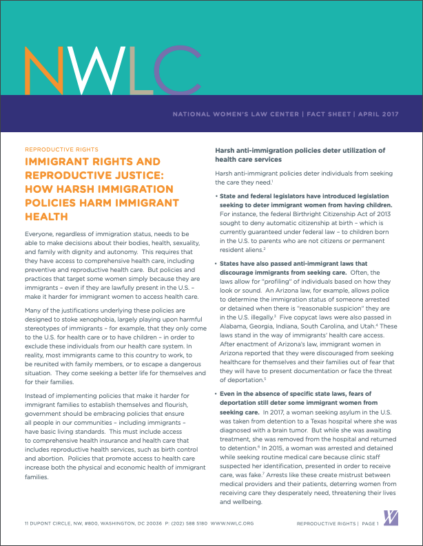 IMMIGRANT RIGHTS AND REPRODUCTIVE JUSTICE: HOW HARSH IMMIGRATION POLICIES HARM IMMIGRANT HEALTH Handout